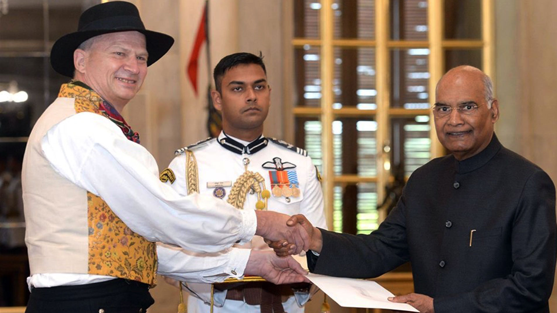 AMBASSADOR PRESENTING CREDENTIALS TO PRESIDENT OF INDIA