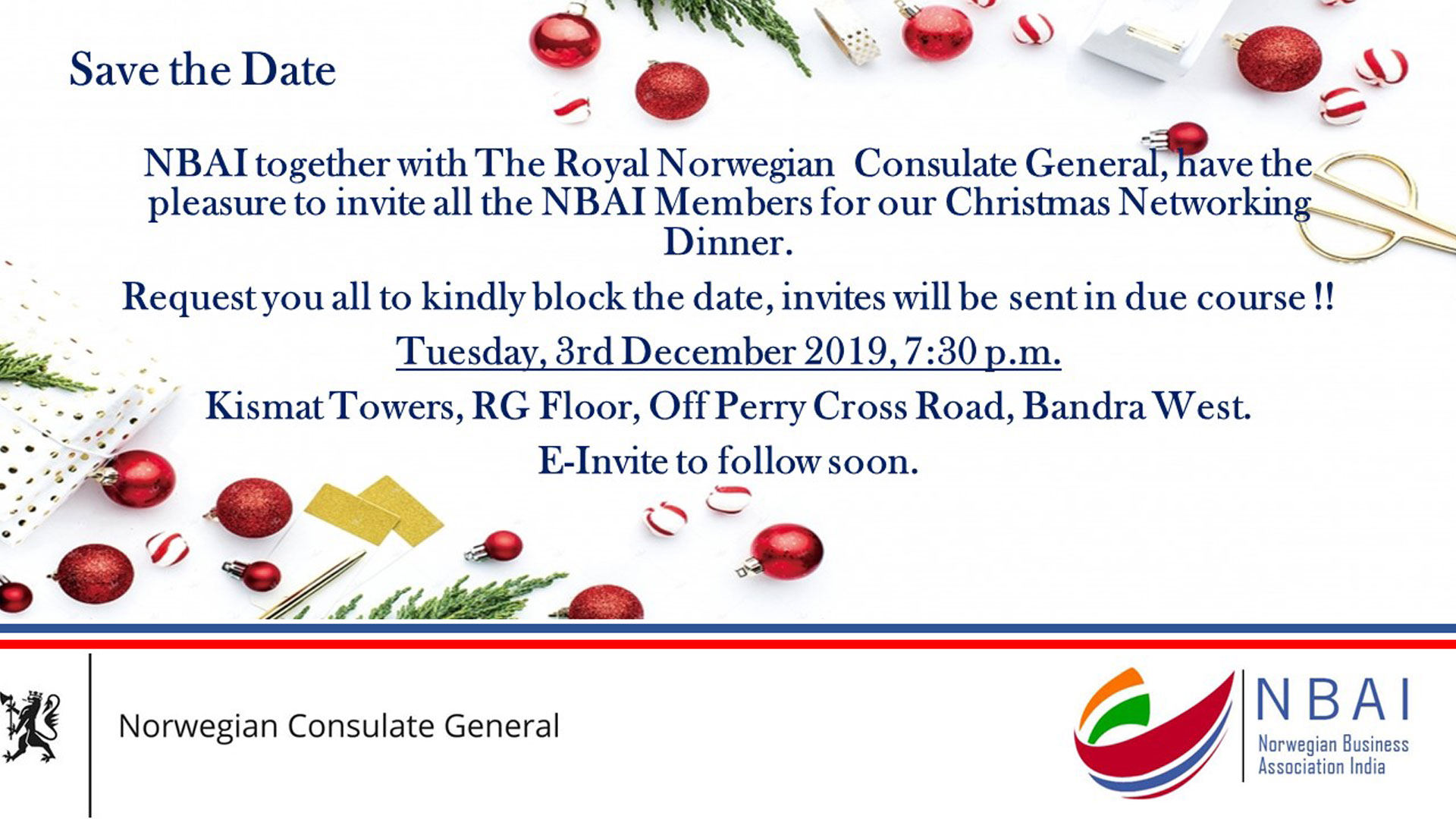 NBAI MEMBERS CHRISTMAS NETWORKING DINNER SAVE THE DATE
