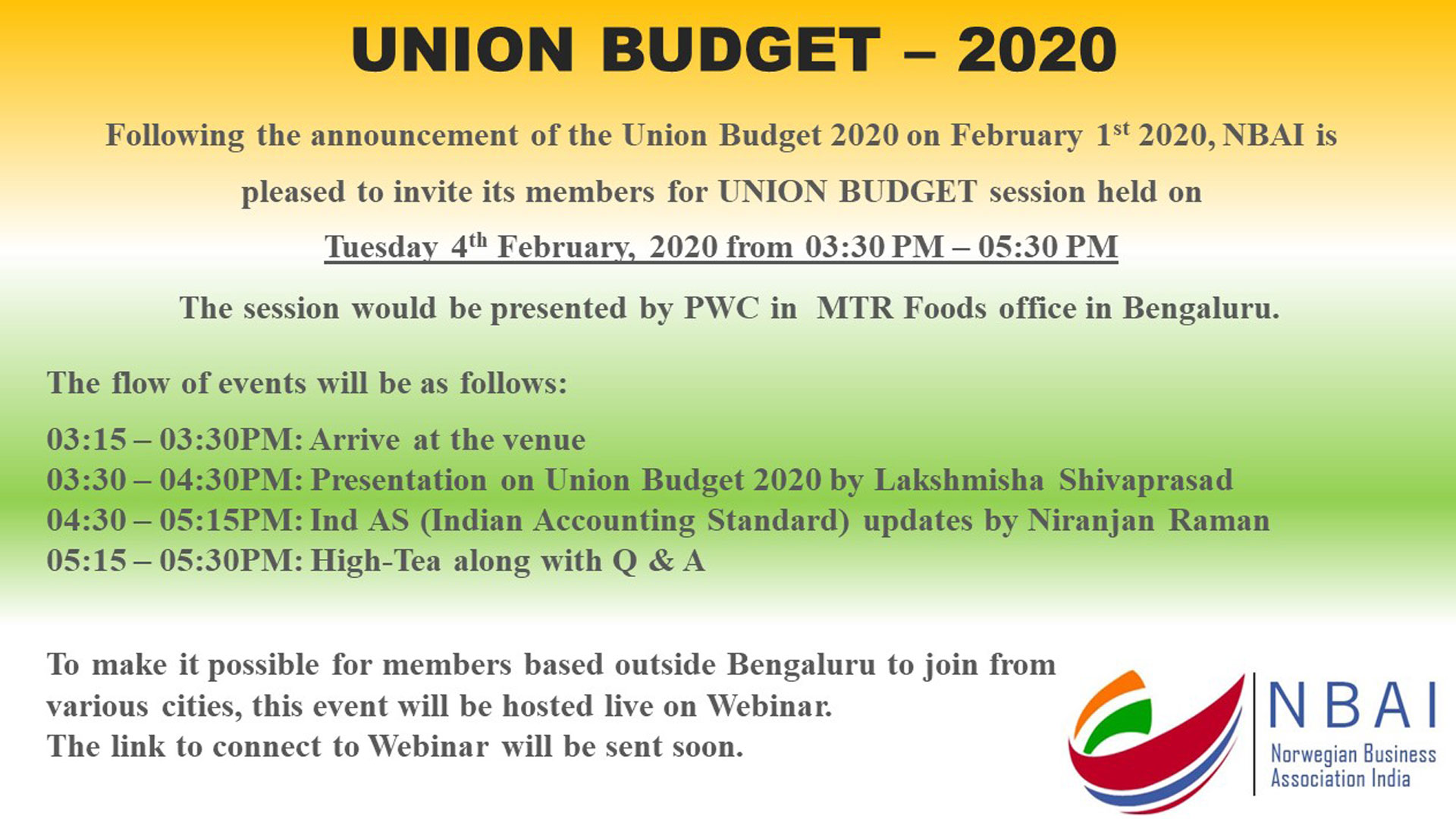 UNION BUDGET BY NBAI – TUESDAY, 04 FEBRUARY IN MTR FOODS OFFICE, BENGALURU