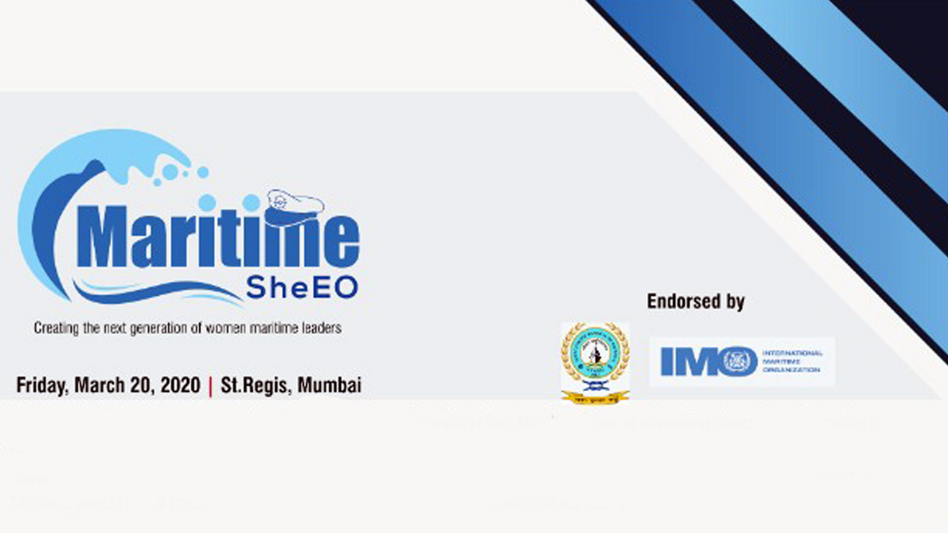 MARITIME SheEO CONFERENCE :FRIDAY, 20 MARCH 2020 @HOTEL ST.REGIS,MUMBAI